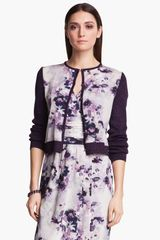 St. John Collection Collection Iris Print Rib Knit Cardigan - Lyst