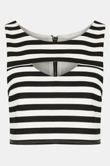 Topshop Cutout Stripe Crop Top - Lyst