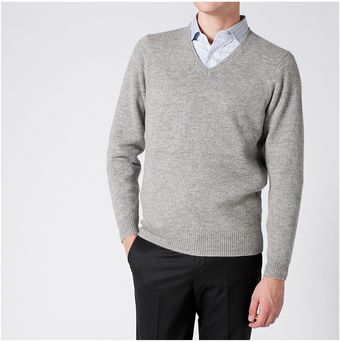 Uniqlo Lambswool V- Neck Sweater - Lyst