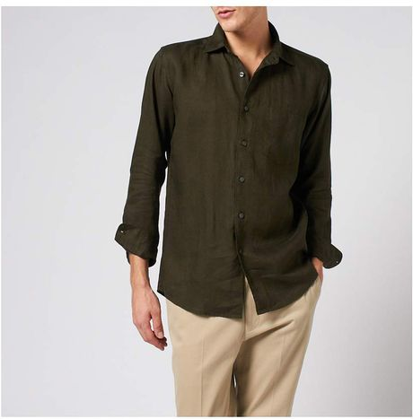 Uniqlo premium linen long sleeve shirt in brown for men lyst for Uniqlo premium t shirt