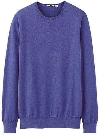 Uniqlo Cotton Cashmere Crew Neck Sweater - Lyst