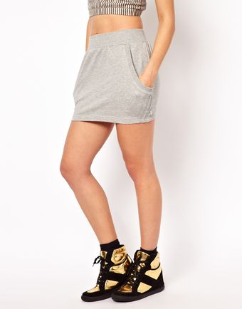 Adidas French Terry Logo Skirt - Lyst
