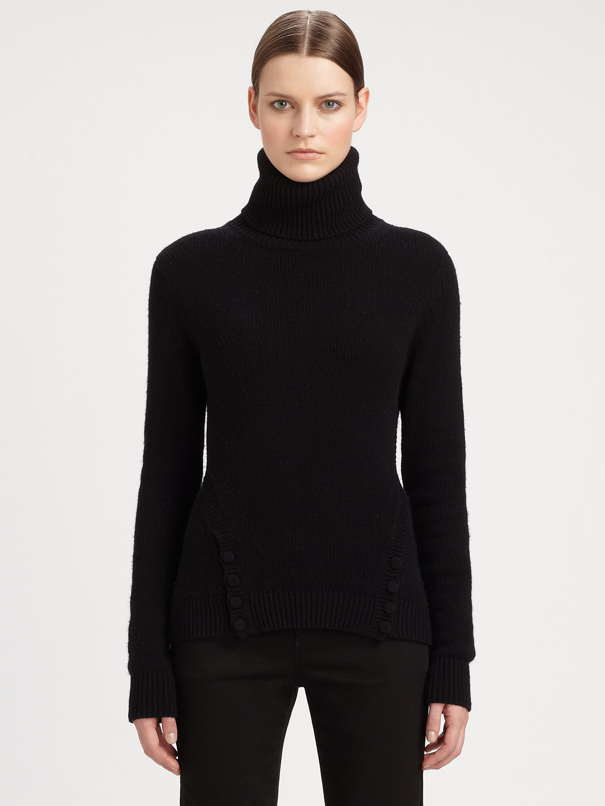 Alexander mcqueen Chunky Turtleneck Sweater in Black | Lyst