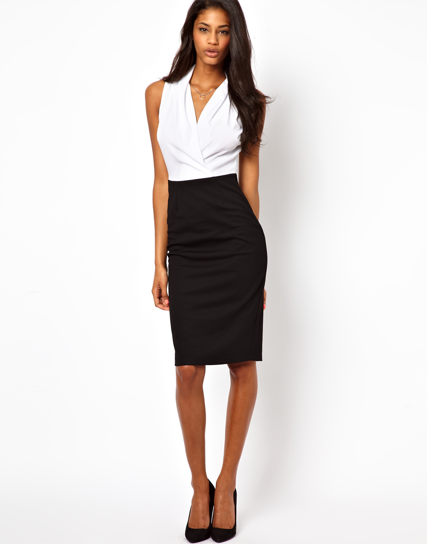 a6d6514bc5 ASOS Pencil Dress with Woven Wrap Top in White - Lyst