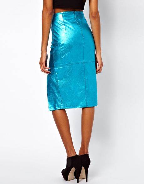 asos leather pencil skirt in metallic in blue lyst