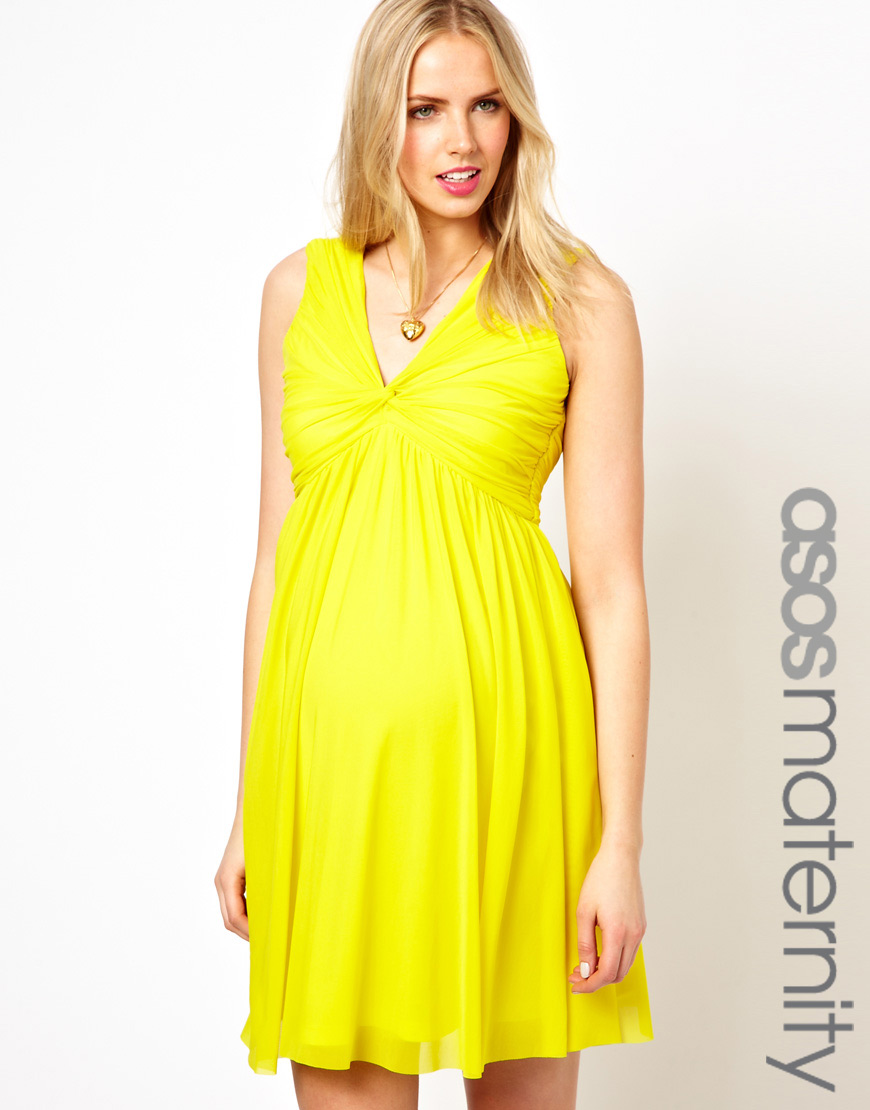 Fashion week Maternity yellow dresses for woman