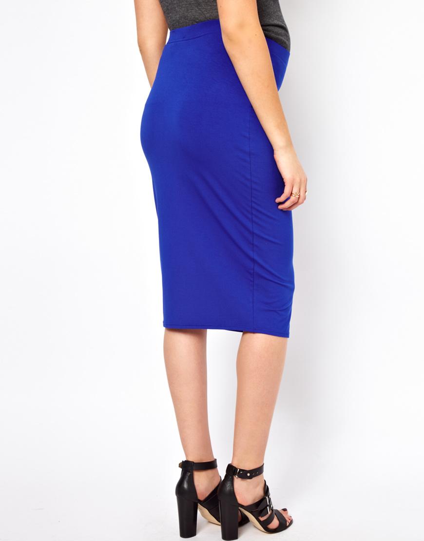asos curve asos maternity jersey pencil skirt in blue