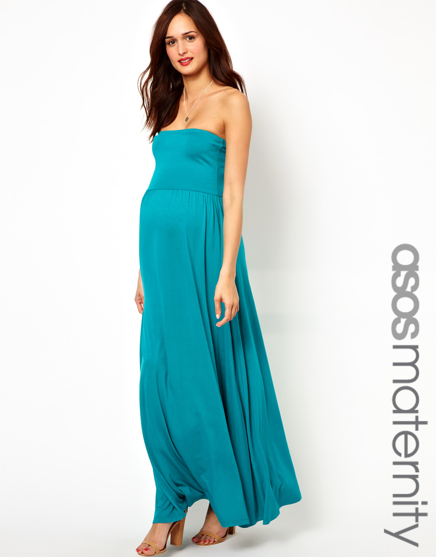 Lyst - Asos Maternity Bandeau Maxi Dress in Green