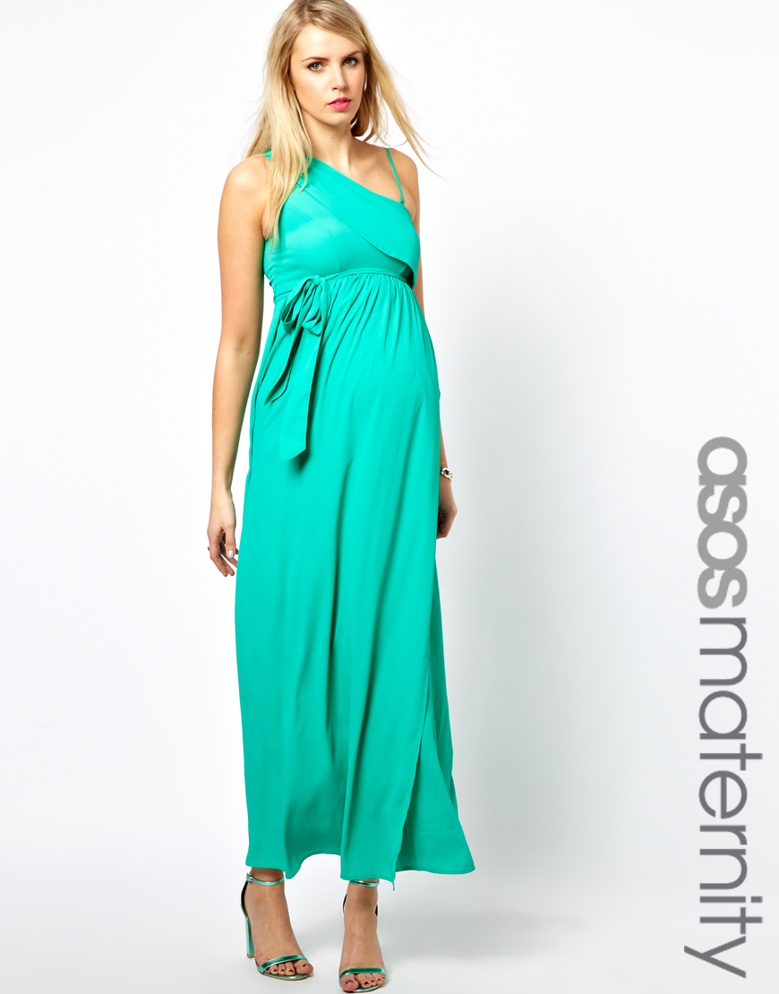 755103aac6f7d ASOS Maternity Exclusive Maxi Dress with One Shoulder in Green - Lyst