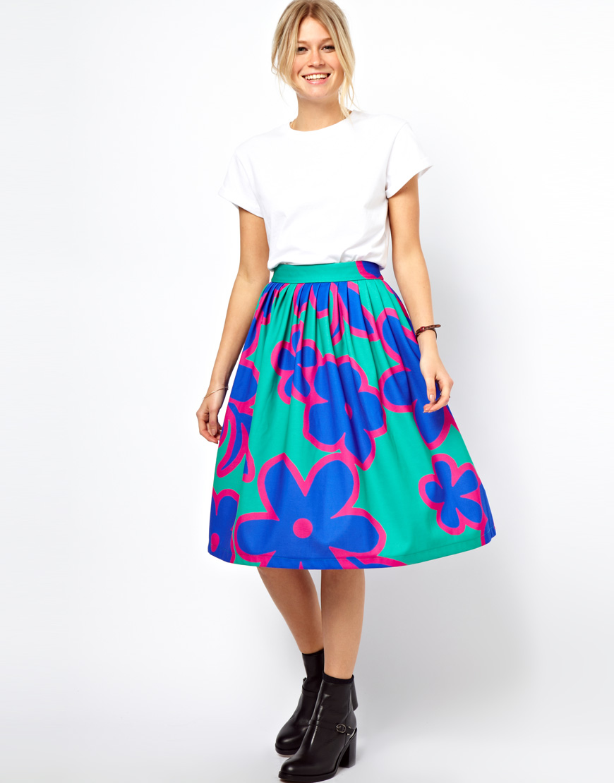 df227cfaa0 Green Floral Midi Skirt