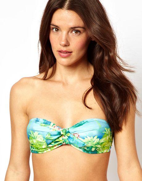 asos hawaii print bow bandeau bikini top in multicolor hawaiiprint lyst