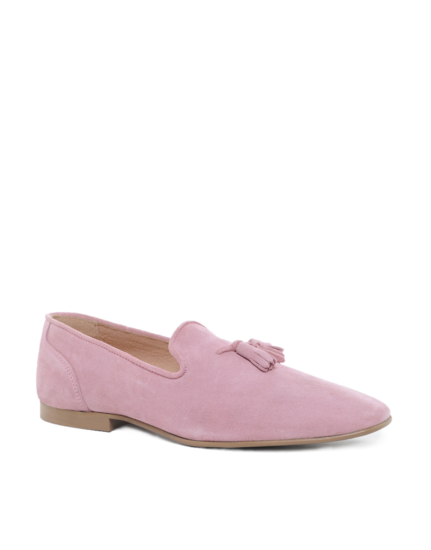 Lyst Asos Tassel Loafers In Suede In Pink For Men