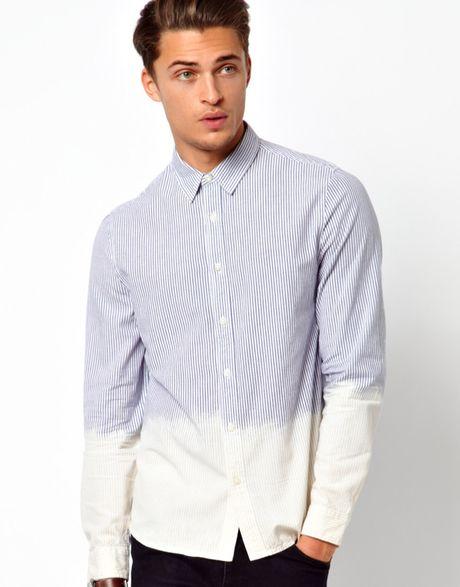 Asos dip dye shirt with ticking stripe in white for men lyst for Mens dip dye shirt