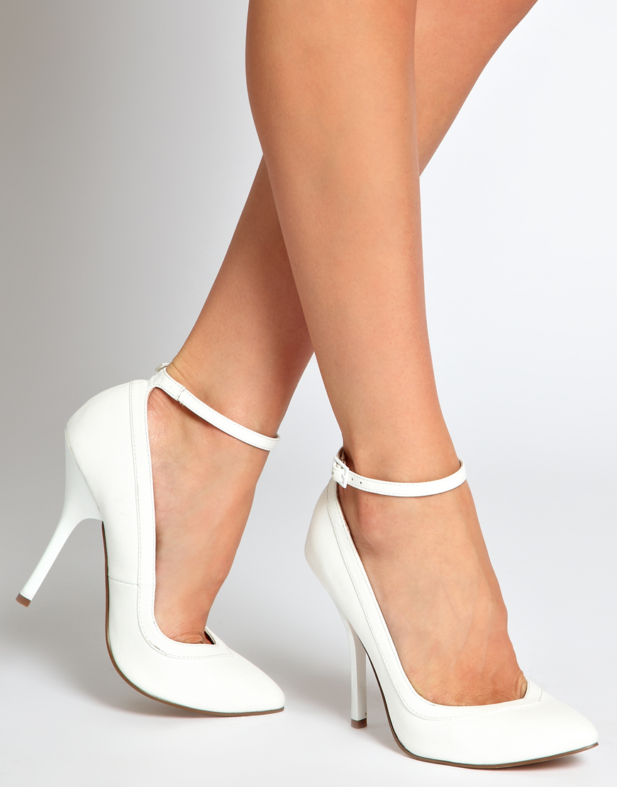 Lyst - Asos Pout Pointed High Heels in White