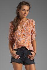 BCBGMAXAZRIA Short Sleeve Tunic in Orange - Lyst