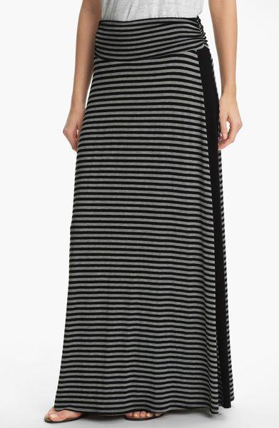 bobeau tuxedo stripe maxi skirt in gray black