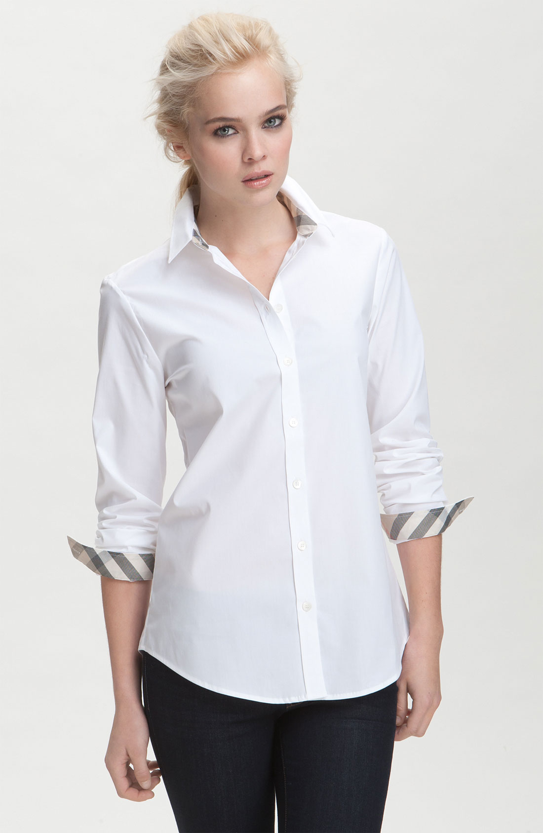 Burberry brit shirt with check contrast in white lyst for Burberry brit checked shirt