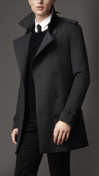 Burberry Midlength Technical Wool Warmer Trench Coat In