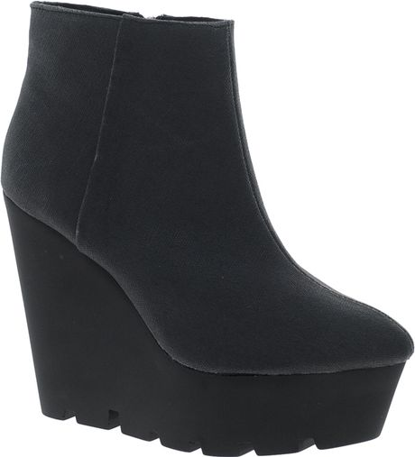cheap monday monolit canvas wedge boot in black lyst