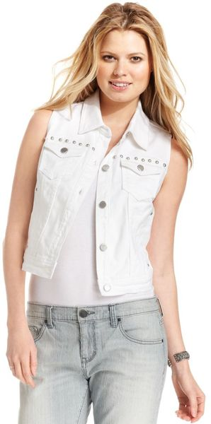 DKNY Sleeveless Denim Studded - Lyst