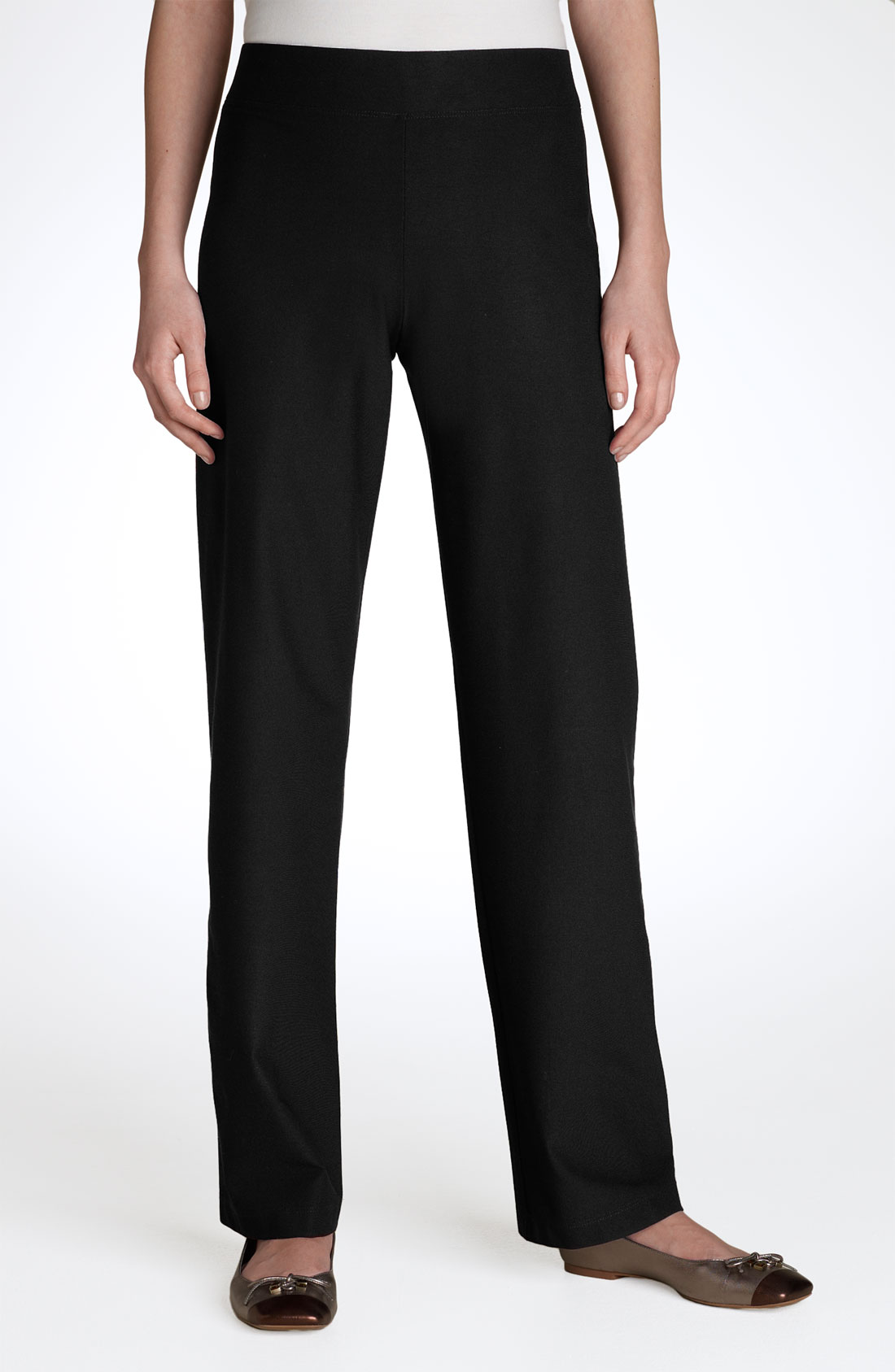 Eileen Fisher Women S Stretch Crepe Straight Pants In