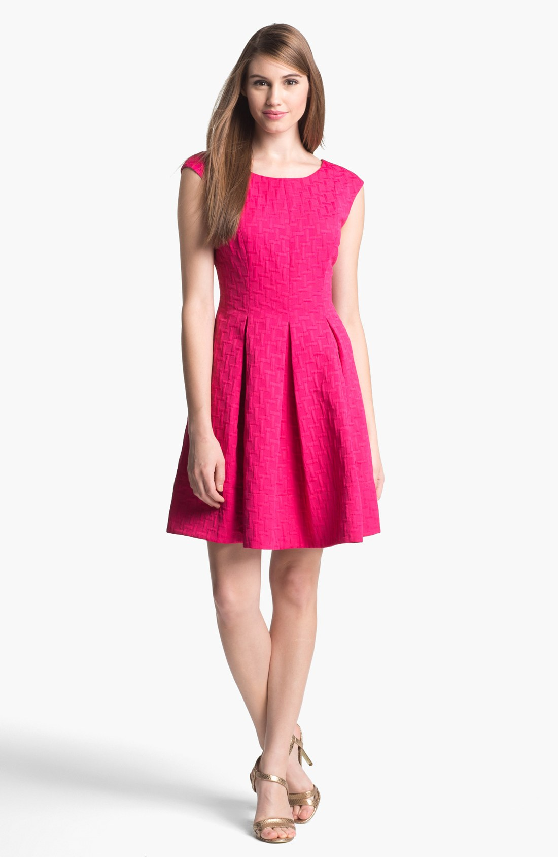 Eliza J Jacquard Cap Sleeve Fit Flare Dress In Pink