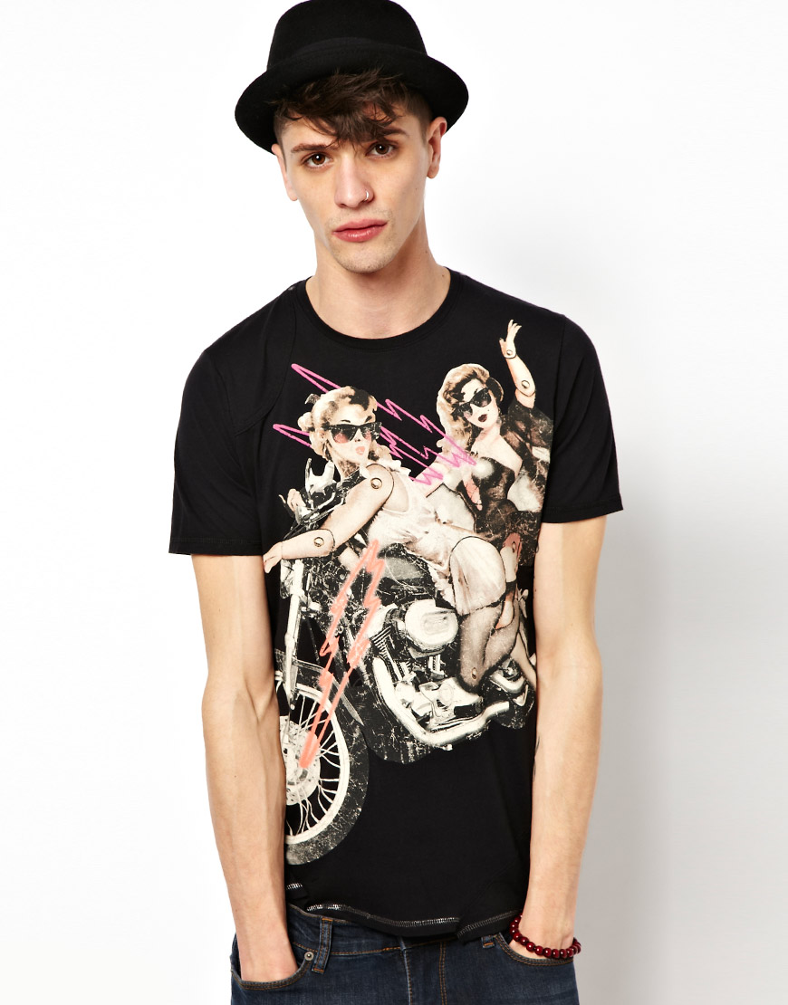 Elvis jesus t shirt with bike print in black for men lyst for Elvis t shirts for men