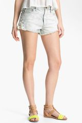 Free People Crochet Trim Cutoff Denim Shorts - Lyst