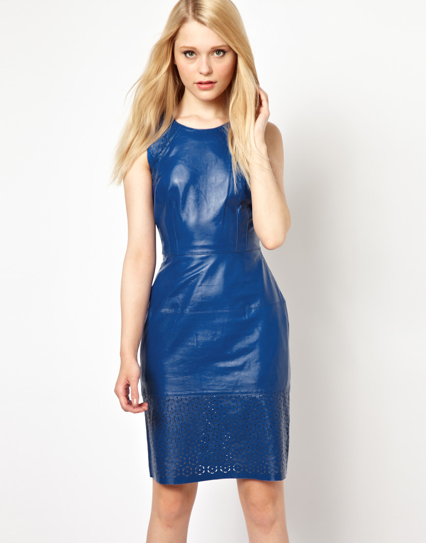 French connection Leather Laser Cut Dress in Blue