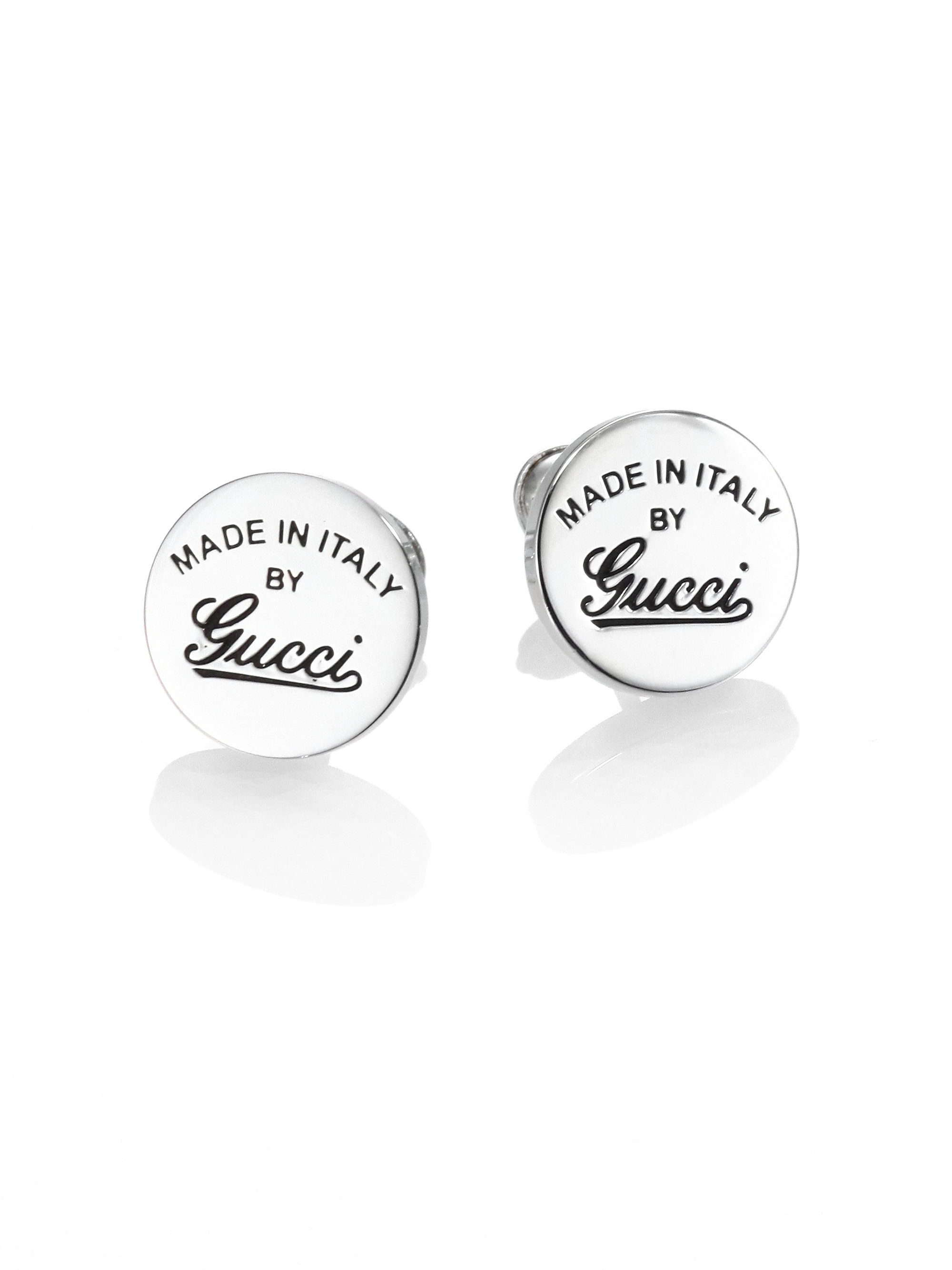 1d640ad9370 Lyst - Gucci Sterling Silver Signature Stud Earrings in Metallic