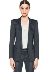 Helmut Lang Matrix Linen Slim Lapel Blazer in Frozen - Lyst