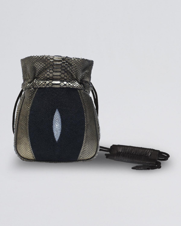 Khirma eliazov Mignonne Python Stingray Pouch Bag in Black (copper ...