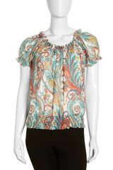 Lafayette 148 New York Paisley Offshoulder Silk Blouse - Lyst