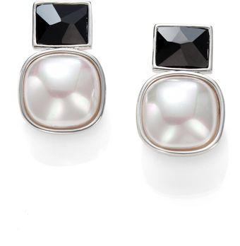 Majorica White Mabé Pearl Black Crystal and Sterling Silver Earrings - Lyst