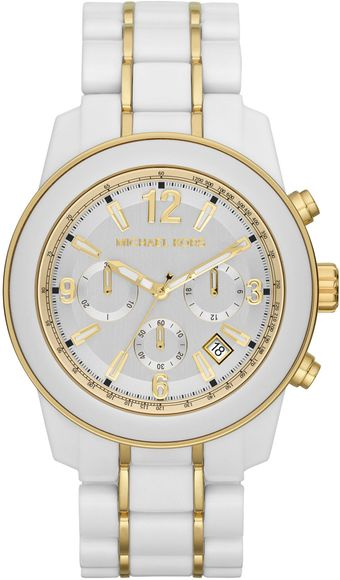 Michael Kors Midsize White Acetate Preston Chronograph Watch - Lyst