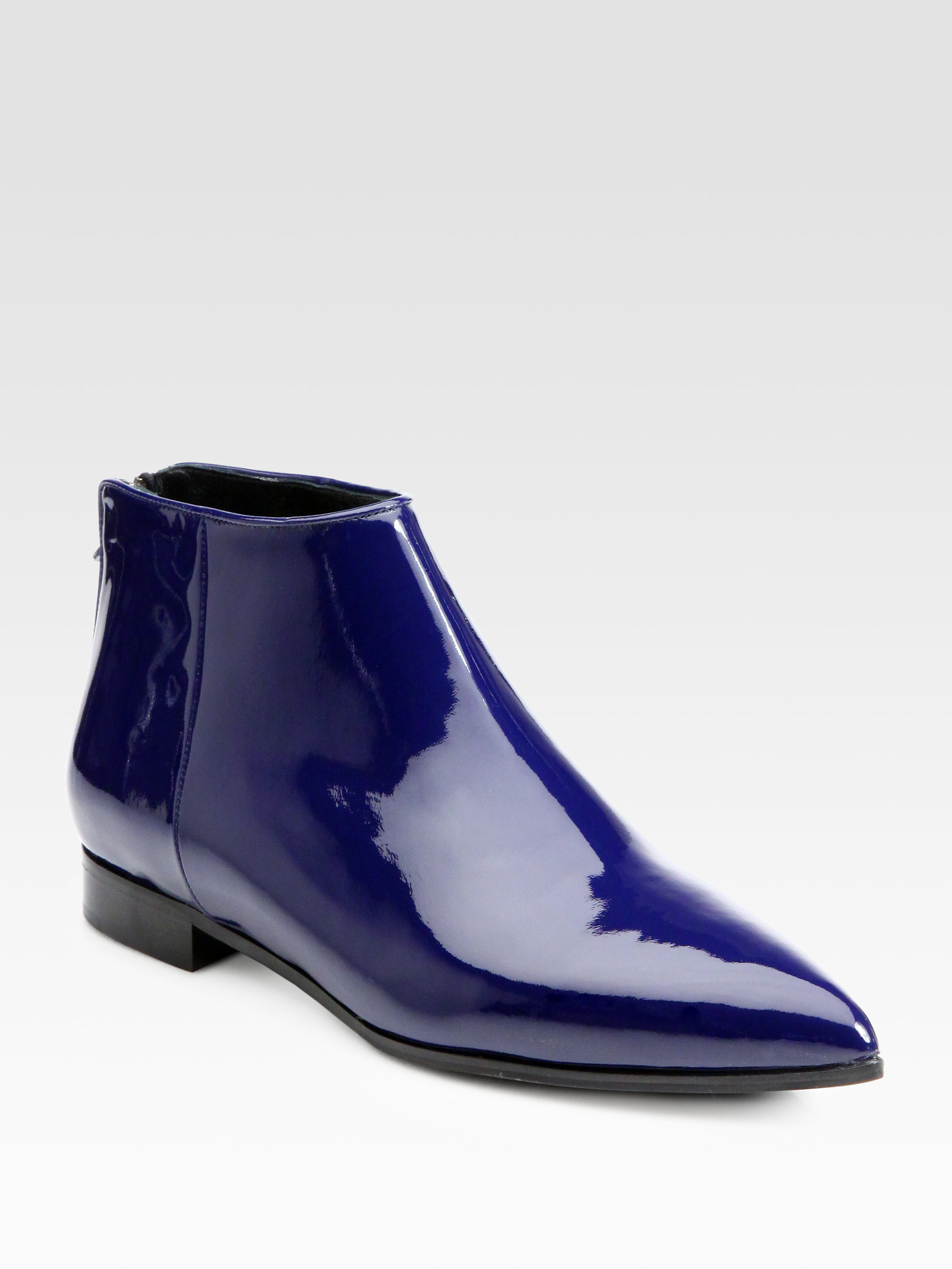 Miu Miu Patent Leather Ankle Boots In Blue Lyst