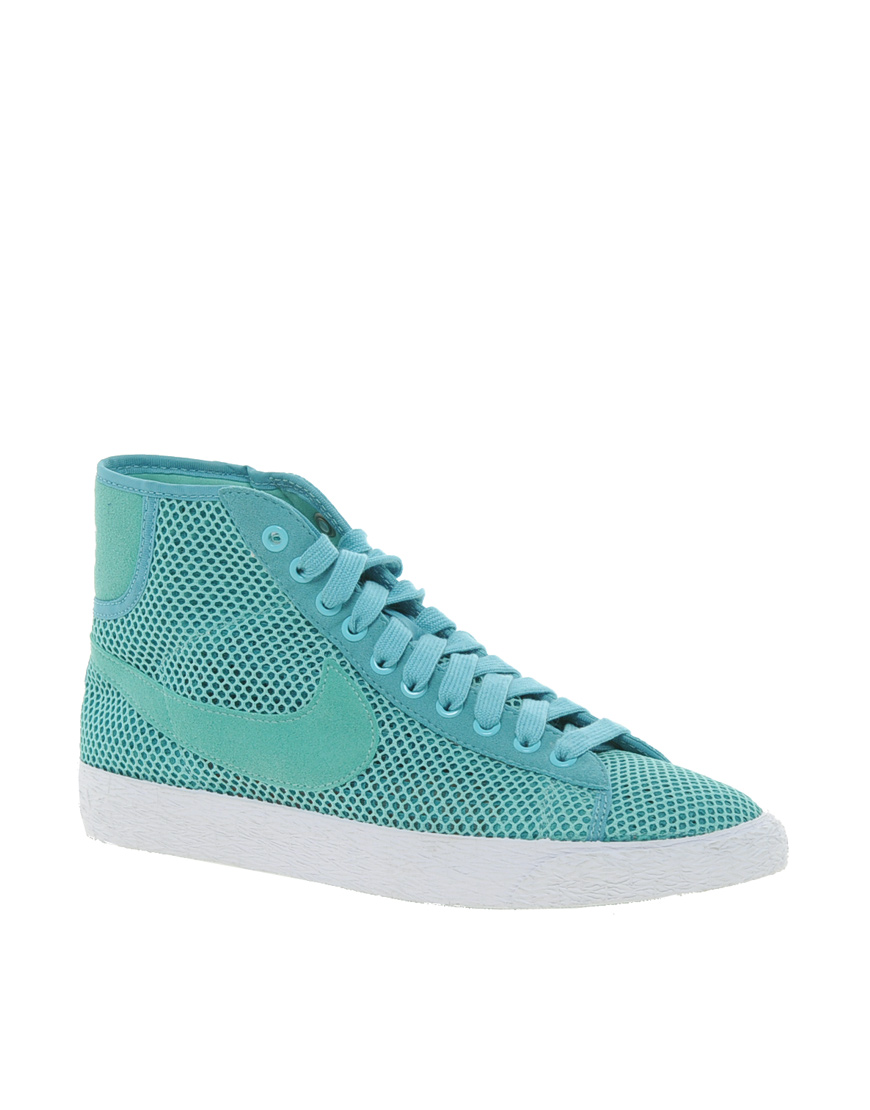nike blazer mid mesh turquoise high top trainers mens