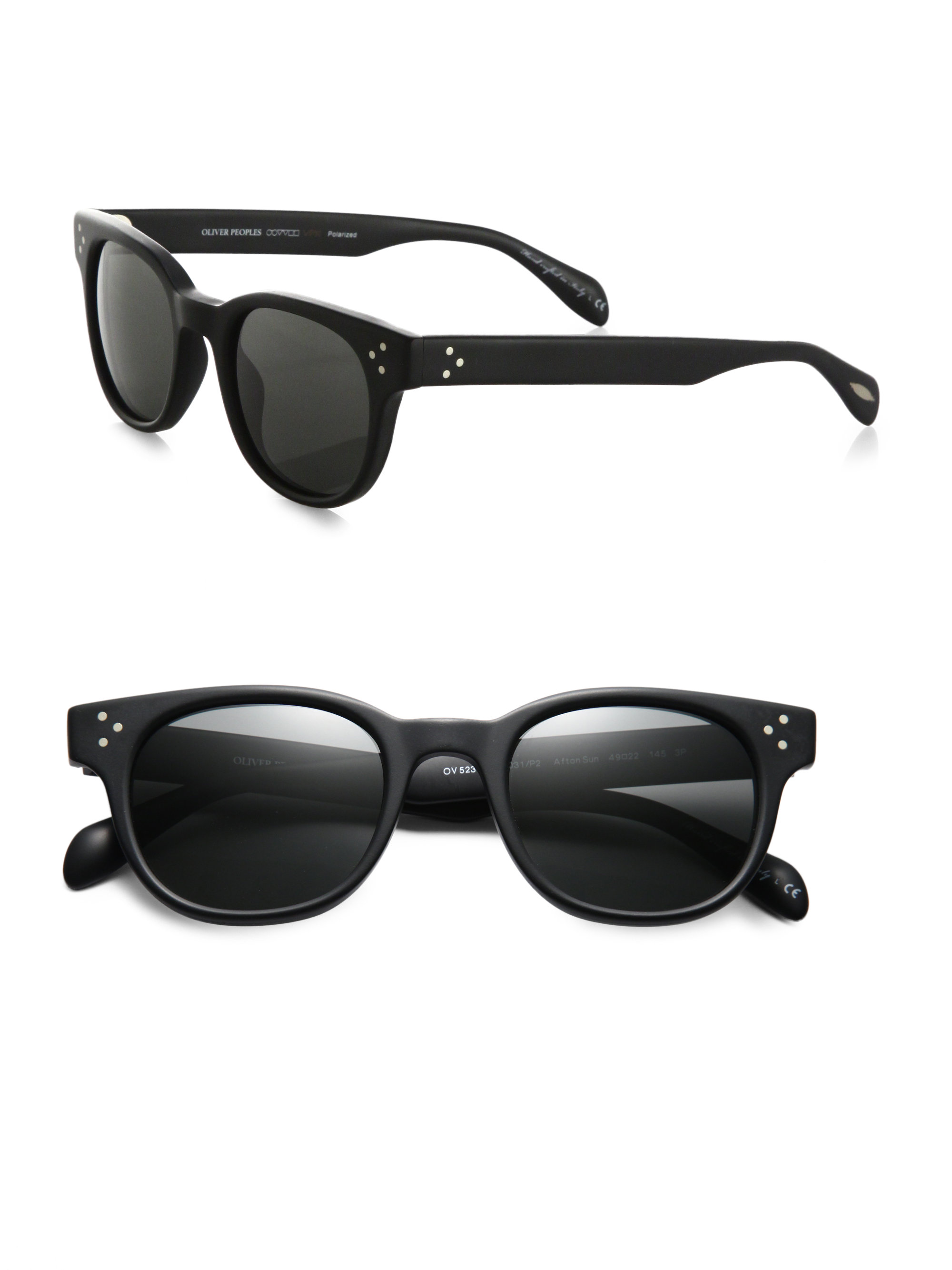 59346cb225 Lyst - Oliver Peoples Afton Round Acetate Sunglasses in Black for Men