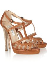 Oscar de la Renta Lele Leather Platform Sandals - Lyst