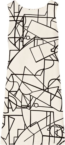 Oscar de la Renta Geometric Print Silk Dress - Lyst