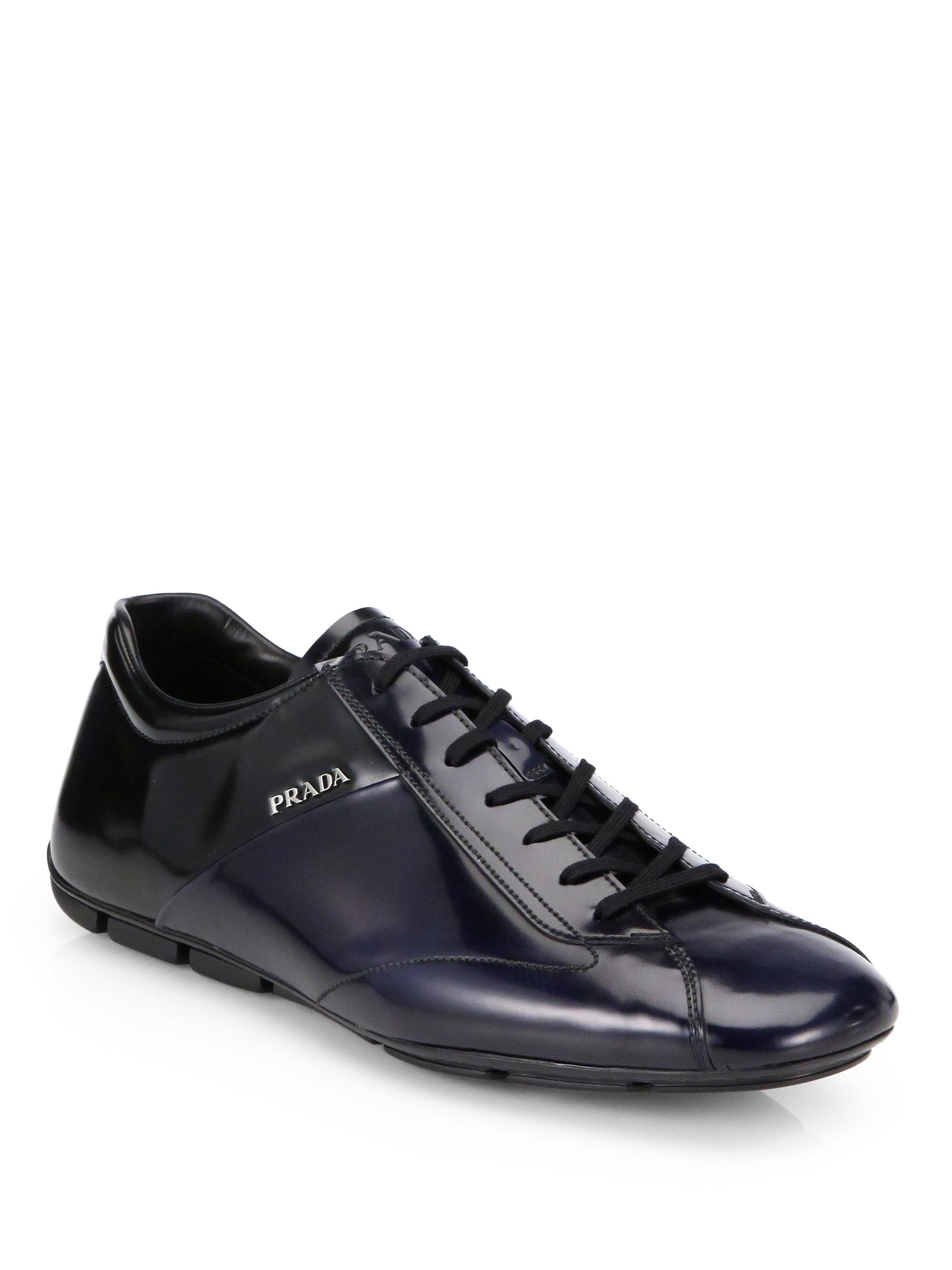 Lyst - Prada Bicolor Spazzolato Laceup Sneakers in Black for Men