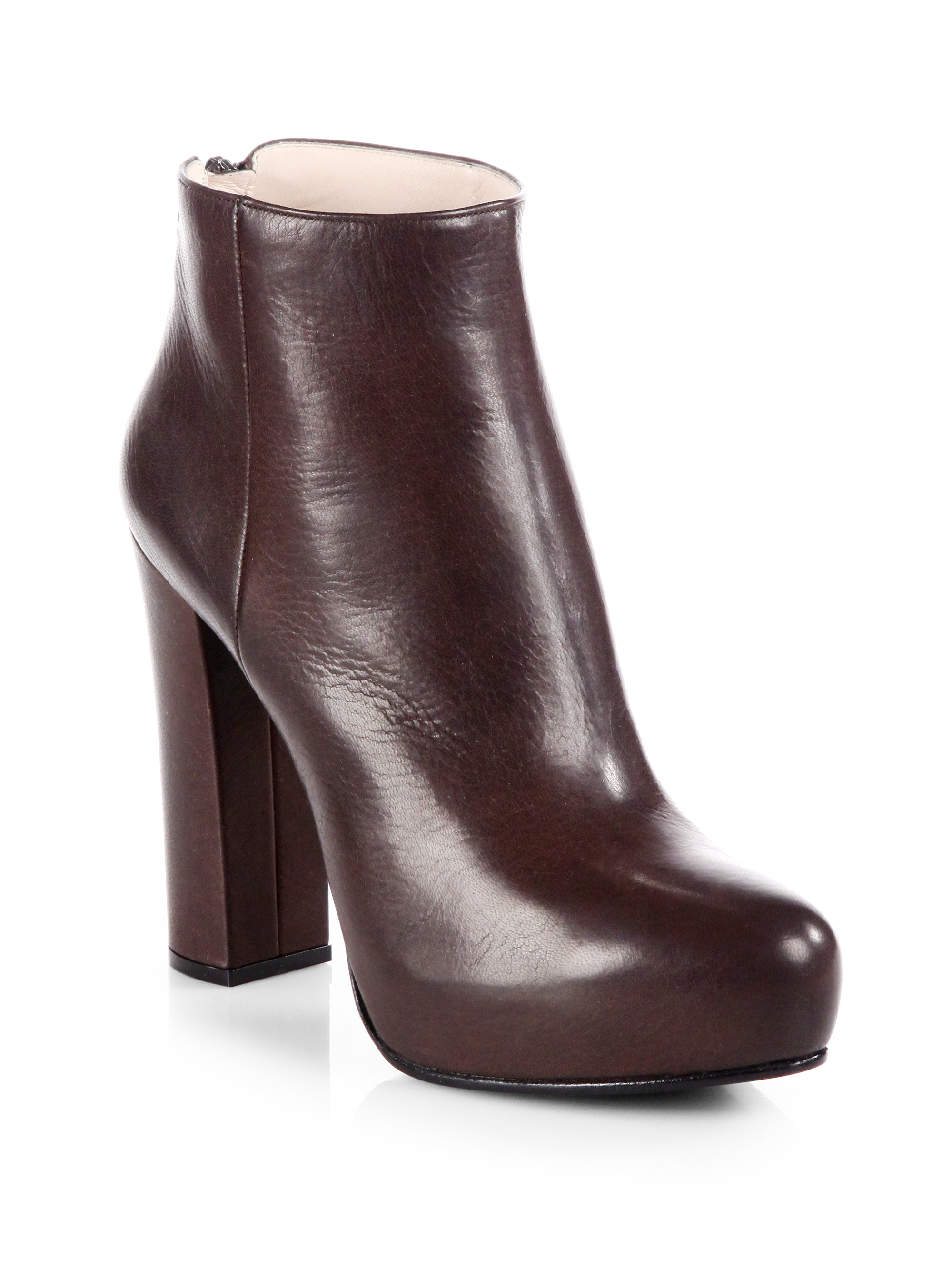 prada leather platform ankle boots in brown lyst