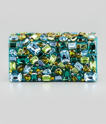 Prada Jeweled Satin Clutch Bag Turquoise - Lyst