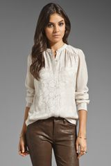 Rebecca Taylor Sequin Silk Blouse in Ivory - Lyst