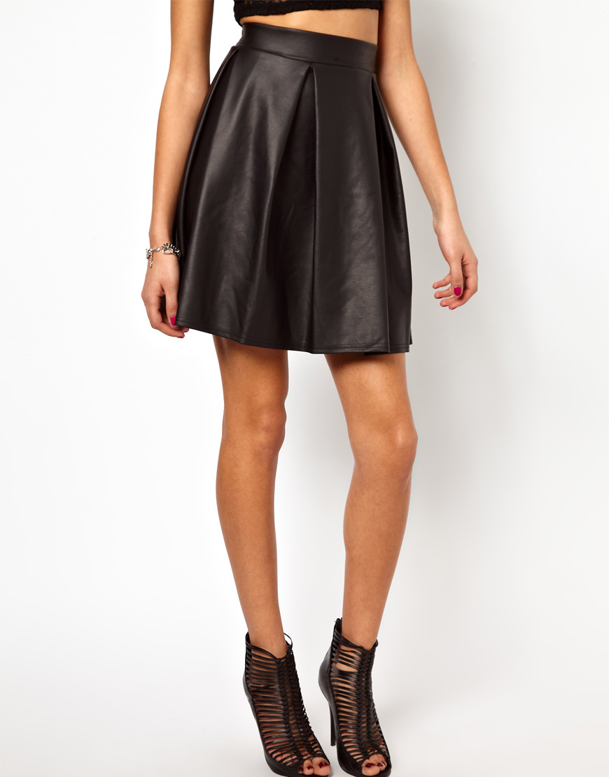 High Waisted Leather Skater Skirt | Fashion Skirts