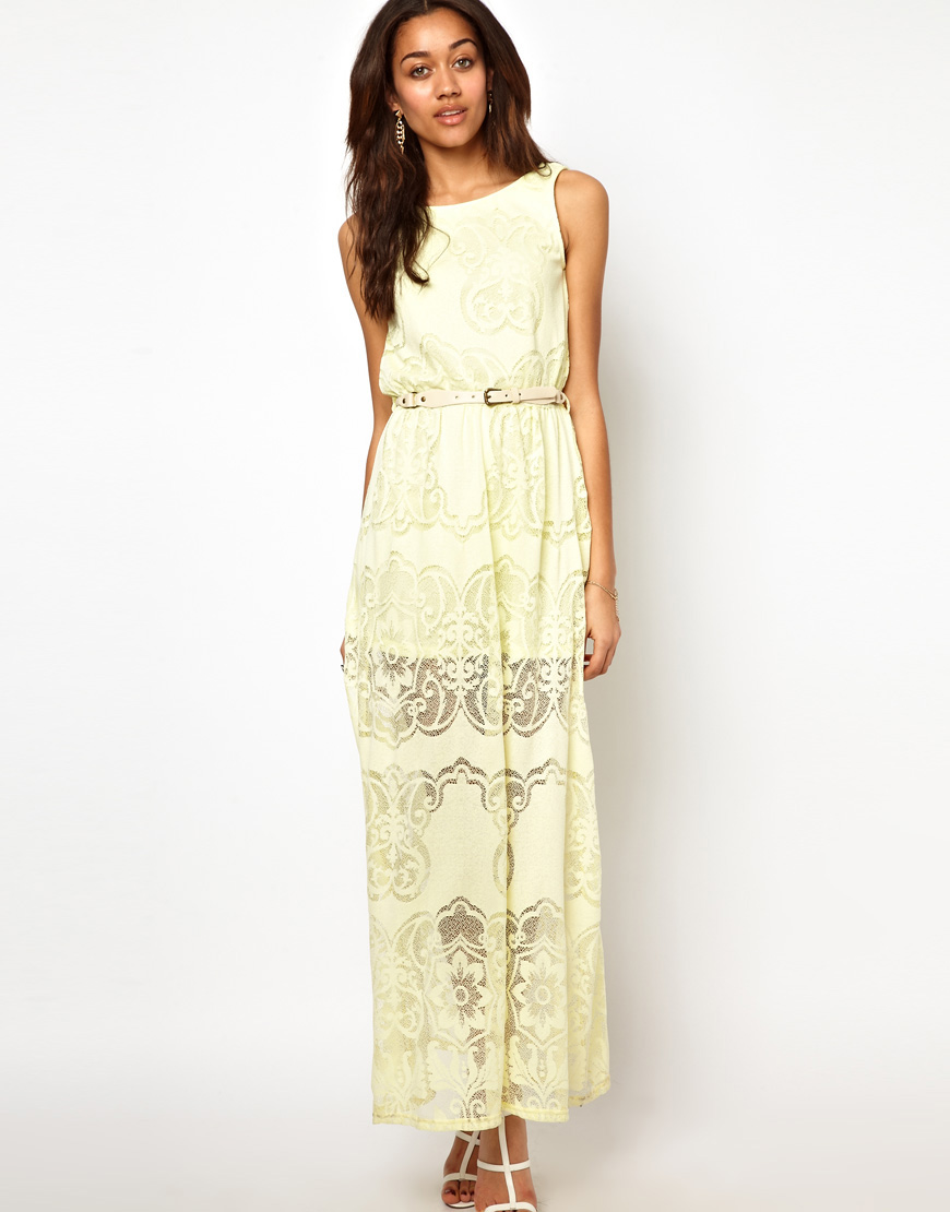 River island Lace Maxi Dress in Yellow | Lyst