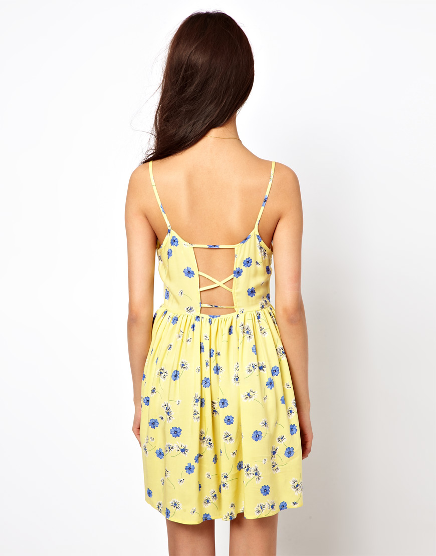 Lyst River Island Daisy Print Sun Dress In Yellow