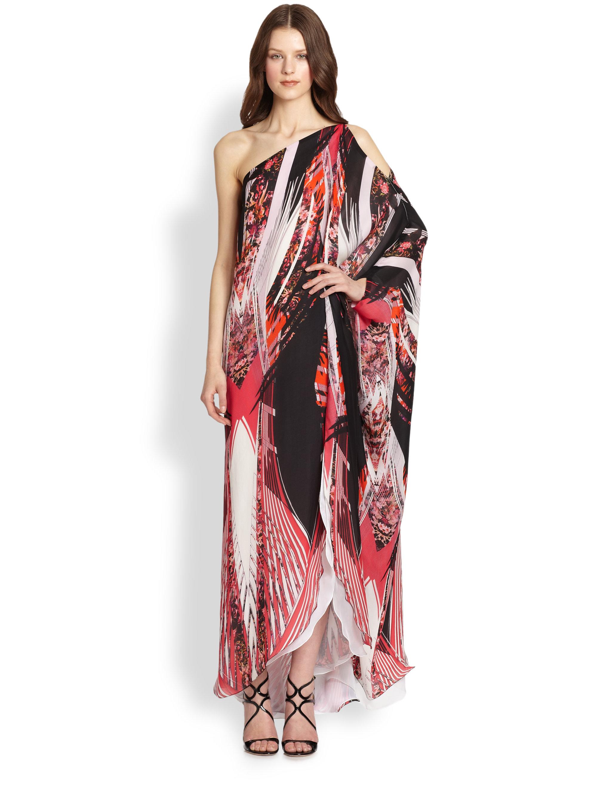 Roberto cavalli Printed Silk Oneshoulder Kaftan | Lyst