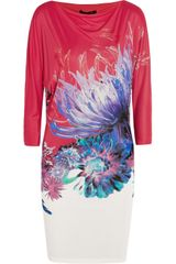 Roberto Cavalli Printed Satin Jersey Mini Dress - Lyst
