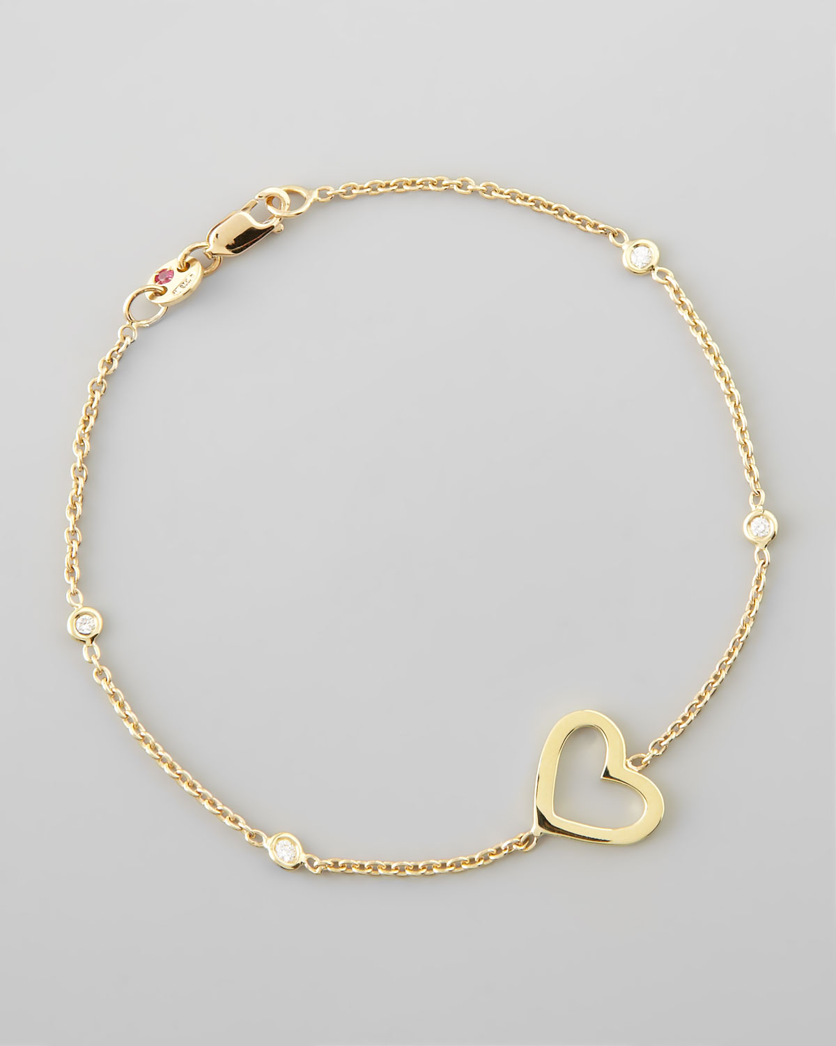 roberto coin yellow gold heart diamond bracelet in gold lyst. Black Bedroom Furniture Sets. Home Design Ideas